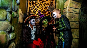 Family at Halloween celebrating at Blackgang Chine's Frights and Sprites