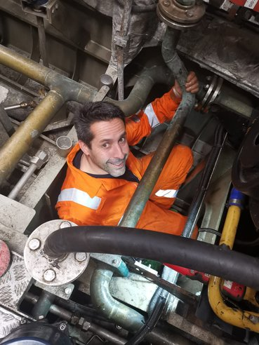 Chris Ancrum - Wightlink Fleet Technician Team Leader - in the bilges of a Wightlink FastCat