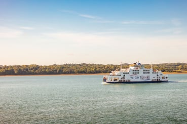 Wightlink ferry, St Clare on the Solent with the Isle of Wight in the background