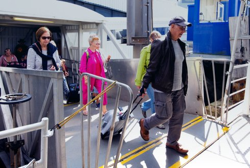 Foot passengers leaving ferry