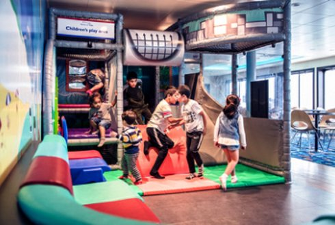 Kids play in play area on board Wightlink's Victoria of Wight ferry