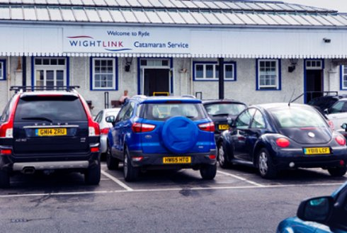 Parked vehicles at Wightlink port