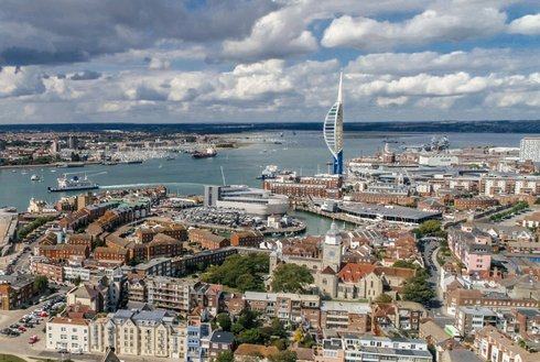 Drone photograph of Portsmouth featuing the Spinnaker Tower and Portsmouth Harbour