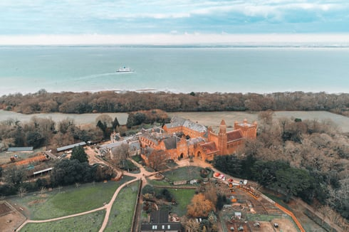 Aerial view of Quarr Abbey, Ryde, Isle of Wight