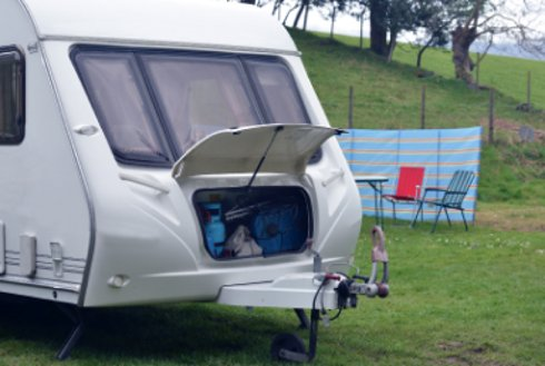 Holiday caravan with gas canisters