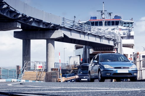 Cars leave Wightlink ferry
