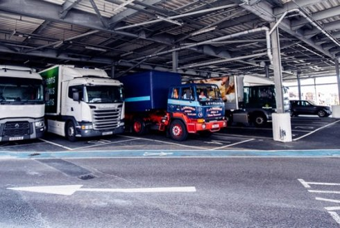Lorries queued at Wightlink's Portsmouth port