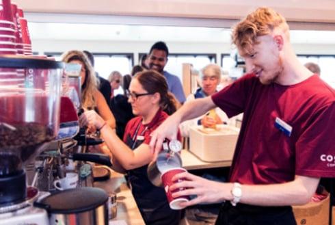 Costa Coffee staff make drinks on board Wightlink ferry