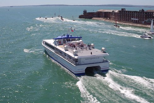 Wightlink FastCat exits Portsmouth Harbour