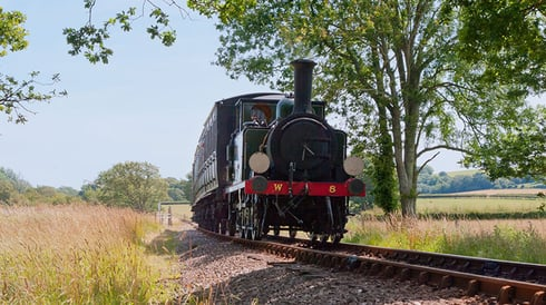 Steam train on Isle of Wight Steam Railway