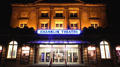 Shanklin Theatre entrance at night