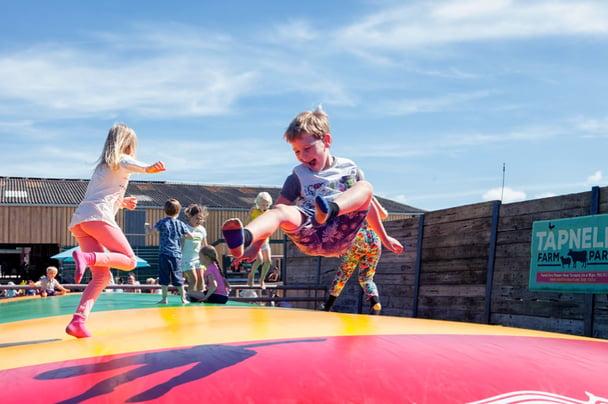Children having fun at Tapnell Farm, Isle of Wight